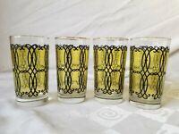 Libbey Mid Century Black Yellow Juice Glasses Flashed Set of 4