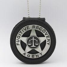 Fugitive Recovery Agent Badge Leather Holder Belt Clip  Pewter