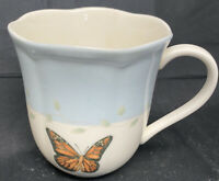 Lenox Butterfly Meadow LBlue Tea  Cup 12 oz Coffee Mug Scalloped Rim.