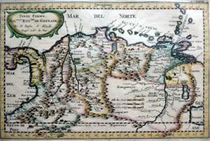 COLOMBIA VENEZUELA BY NICOLAS SANSON c1682 GENUINE ANTIQUE ENGRAVED MAP