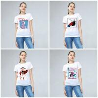 Fashion Women Devil Series Print Tops Short Sleeve White T-shirt Casual Tees