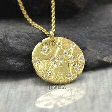 14K Yellow Gold Genuine Diamond Engraved Sun Disc Pendant Necklace Fine Jew...