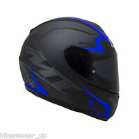 MT Thunder Squad MATT BLACK BLUE Motorcyccle Motorbike Helmet Crash Lid Scooter