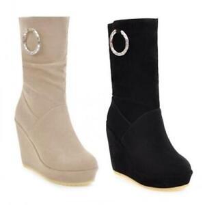 UK Women's Wedge Mid Heel Platform Suede Fabric Pull On Mid Calf Boots Outdoor D