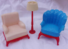 Lot Renwal Dollhouse miniature plastic 2 Arm Chairs AND 1 Floor Lamp 1:16
