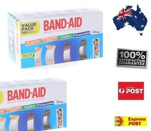 Band Aid Value Pack Variety Bandages 195 Strips FREE POST Children Home Office