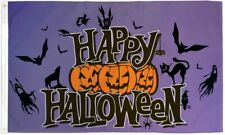 Happy Halloween Flag Pumpkins Bats Purple Halloween Flag 3x5ft