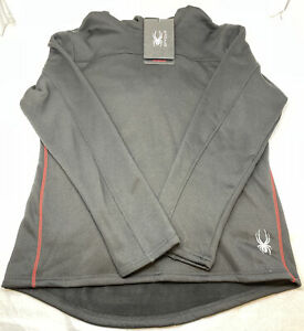 Spyder Pullover Fleece Lined Hoodie Black with Red MEN'S SIZE LARGE NWT