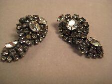 Kramer Gray and Clear Rhinestone Vintage Clip Earrings  #3604