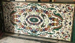 36 x 72 Inches Marble Dining Table Top Floral Pattern Inlaid Stone Patio Table