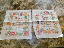 PAIR Vintage Completed PARAGON Cross Stitch Linen SAMPLERS Fruit Vegetables