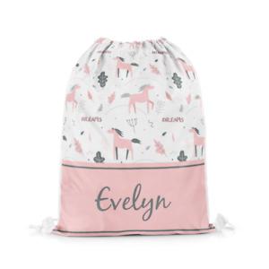 Personalised Name Horse 5 Drawstring Bag Swim PE Sports School Bags Girls Gift