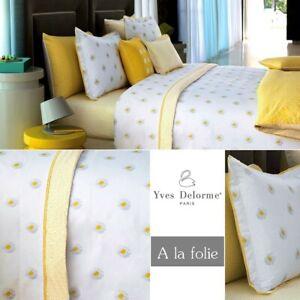 Yves Delorme Queen Duvet Cover A La Folie Yellow White Floral Reversible Cotton