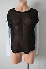 FOREVER 21 Mesh Knit Top Black White Long Sleeve Medium Large 10 12 14