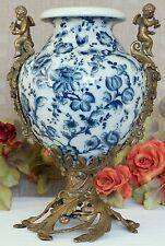 Porzellanvase  Engel Prunkgefäß Porzellan Pokal Bronze Vase Amphore Craquele