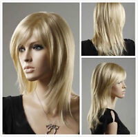 NEW Fashion Women lady Long Straight Blonde Cosplay party lady's wigs + wig cap