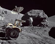 Harrison Schmitt stands by giant boulder rock on the Moon Apollo 17 Photo Print
