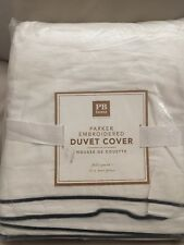 NEW Pottery Barn Teen Parker Embroidered Full Queen Duvet Cover Navy Read Please