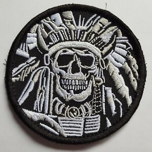 INDIAN HEAD SKULL INDIANER FUN MORALE KLETT PATCH AIRSOFT PAINTBALL GRAU
