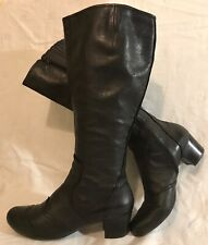 Bertie Black Mid Calf Leather Lovely Boots Size 39 (971v)