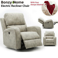 Suede Leather Power Recliner Chair Sofa for Elderly Overstuffed Lounge Chair