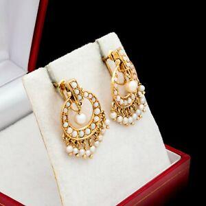 Antique Vintage Deco 14k Gold Australian Fire Opal Akoya Pearl Dangle Earrings