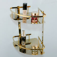 Wall Mounted Gold Polished Bathroom 2 Layer Storage Holder Shelf Accessories