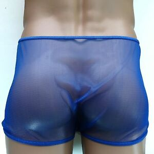 K4167 Mens Tulle Net Boxer Brief Flat Front Shorts
