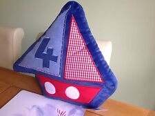 SALE! NURSERY BOY FILLED CUSHION YACHT NAUTICAL THEMED BLUE RED BEDROOM PLAYROOM