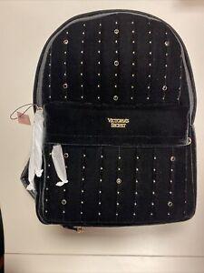 Victoria's Secret Velvet Stud City Backpack Black