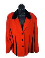 Plaza South Womens Blazer Jacket Long Sleeve Red Black Size 14