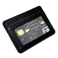 Men's Leather Slim Credit Card Holder Black Wallet ID Case Purse Bag Money Clip