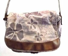 LL Bean Shoulder Bag Handbag Purse Lavendar Floral Canvas Brown Leather Medium