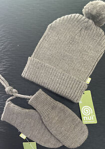 New With Tags Nui Baby Hat And Mittens Set With String 100% Organic Brown Pompom
