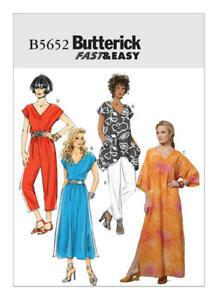 Butterick B5652 PATTERN Misses Top, Dress, Kaftan, Pants Sizes XSM-MED & LRG-XXL