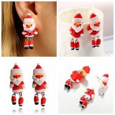 Handmade Polymer Clay Christmas Ear Stud Festival Jewelry Soft Santa Earrings