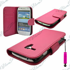 ETUI HOUSSES PORTEFEUILLE STYLET  ROSE Samsung Galaxy S3 mini i8190 + FILMS