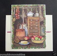 #E921- Unused Tasha Tudor Xmas Greeting Card Country Kitchen Still Life, Scarce