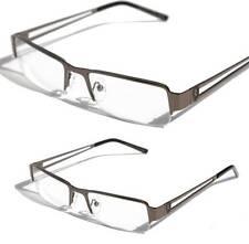 Khan Rectangular Half Rimless Metal Reader Reading Glasses Gunmetal +2.50