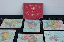 Ancien Jeu puzzle BOIS ATLAS GEOGRAPHIQUE EL? 5 parties Amérique Asie Europe