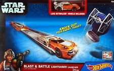 Hot Wheels Star Wars Blast & Battle Lightsaber Launcher Luke Sykwalker Car - NEW