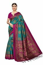 Women's Mysore Silk Printed Saree Border Tassels With Blouse Piece Rama Color