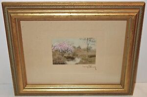 FANTASTIC Antique WALLACE NUTTING Signed HAND COLORED PIECE in a WOOD FRAME #1!