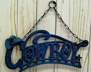 RUSTIC WESTERN COWBOY HANGING PLAQUE, CAST IRON, horse, ranch, farm, home,