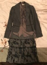 Women's French Dress_Outfit_Size Small_Grey_Coat, shirt and skirt