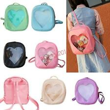 Cute Style Women Transparent Heart Shaped Backpack Travel Hiking Bags New
