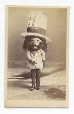 1860's CDV PHOTO MAN WITH ICE SKATES & HUGE TRAIN TICKET, WEARS HUGE HAT & MASK