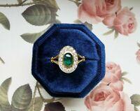 1.80 Ct Emerald & Diamond Cluster Art Deco Vintage Xmas Ring 14K Yellow Gold Fn