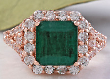5.20Ct Natural Emerald & Diamond 14K Solid Rose Gold Ring