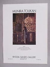 Munira Toukan Art Gallery Exhibit PRINT AD - 1978